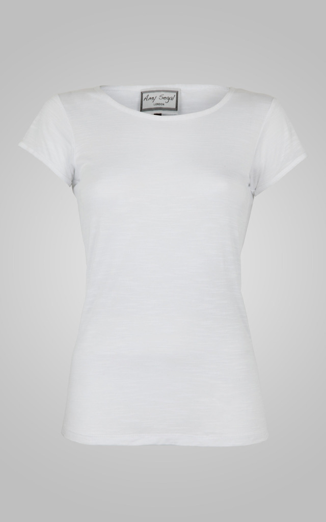 Classic White Round Neck Tee by Amy Segal