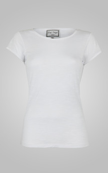Classic white round neck tee by Amy Segal Product photo