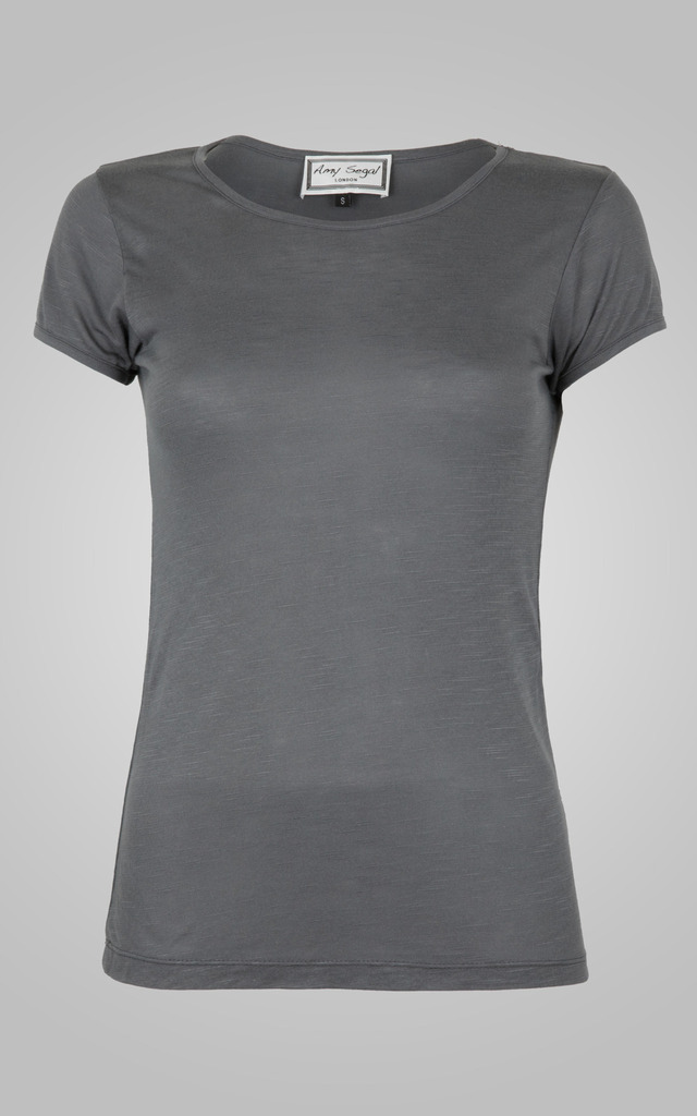 Classic Grey Round Neck Tee by Amy Segal