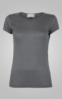 Classic grey round neck tee by Amy Segal Product photo