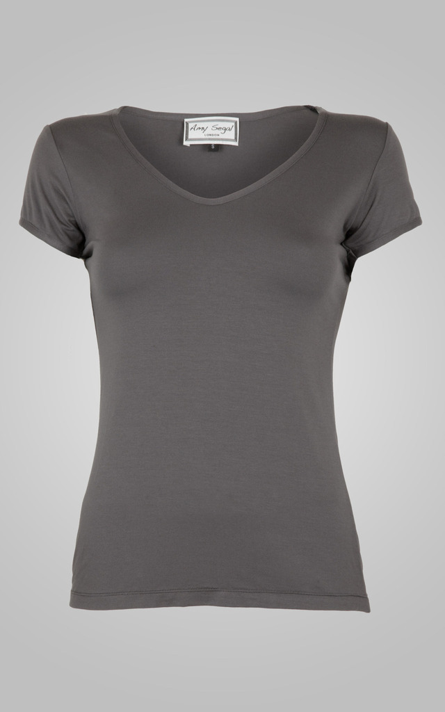 Classic Grey V Neck Tee by Amy Segal