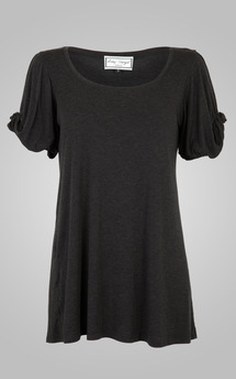 Knot sleeve top charcoal by Amy Segal Product photo