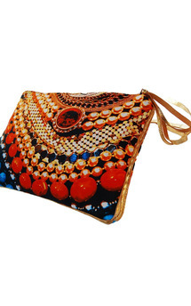 Sabine clutch with gold leather and arc of splendour print by Carmen Woods Product photo