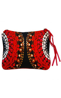 Sabine clutch with fuchsia leather and spheres of paradise print by Carmen Woods Product photo