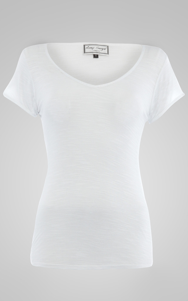 Classic White V Neck Tee by Amy Segal