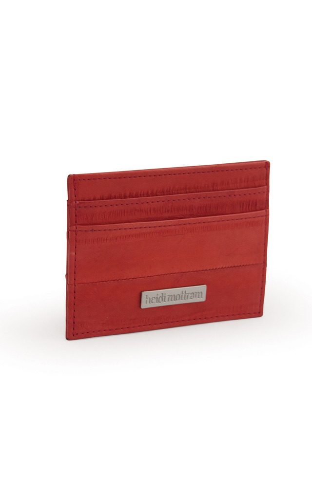 Brick Red Eel Skin Flat Credit Or Oyster Card Holder by Heidi Mottram