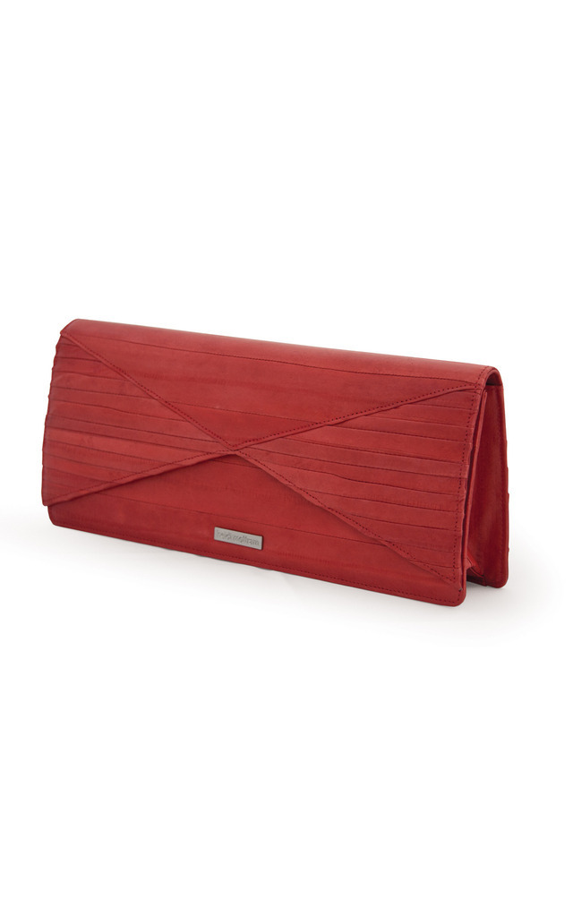 Brick Red Chance Eel Skin Clutch Bag by Heidi Mottram