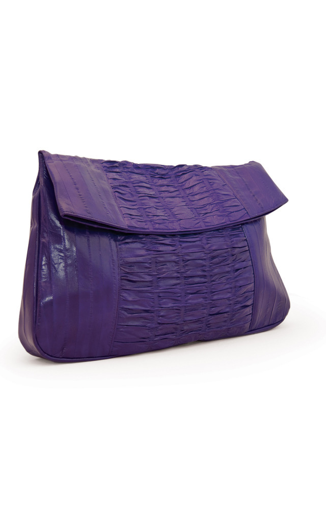 Purple Sea Lilly Oversize Eel Skin Clutch by Heidi Mottram