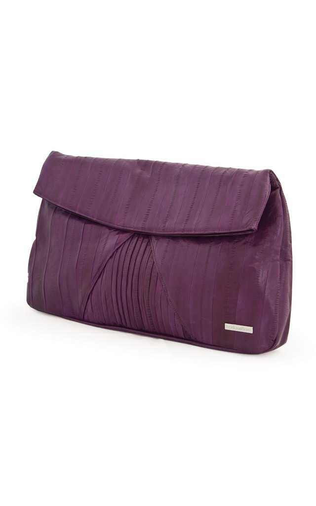 Purple Fate Eel Skin Leather Clutch by Heidi Mottram