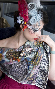 Death of glamour silk scarf by Anna Kompaniets Product photo