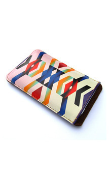 Leather iphone sleeve - chevron love by Tovicorrie Product photo