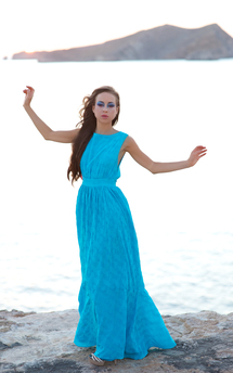 Aqua sea flower dress by Rainbow Winters Product photo