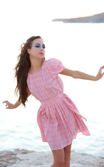 Coral 'sea flower' grecian dress by Rainbow Winters Product photo