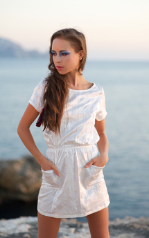 White 'sea flower' silk mini dress by Rainbow Winters Product photo