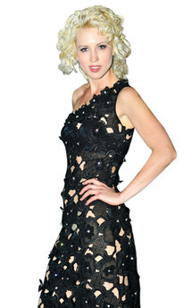 Rosette appliqued asymmetric dress by Luna Sky Product photo