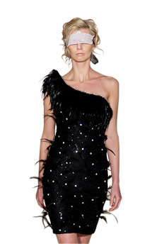 Feather embellished asymmetric lace sequin dress by Luna Sky Product photo