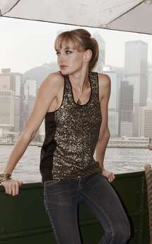 Gold sequin cherish vest top by Fifi Product photo