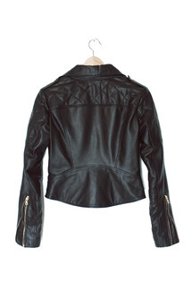 Quilted leather biker jacket by Les Filles En Fleur London Product photo