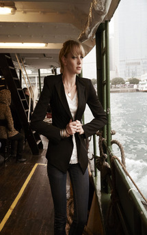 Tailored slim fit black amour jacket by Fifi Product photo