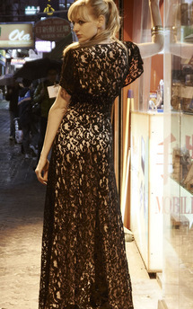 Long black lace adore dress with nude lining by Fifi Product photo