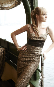 Stunning midi lust sequin dress with jacquard print band by Fifi Product photo