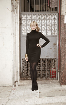 Long sleeve high neck backless dress by Fifi Product photo