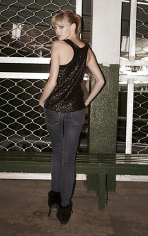 Black sequin racer back cherish vest by Fifi Product photo