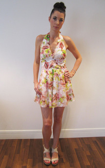 Floral halter viola playsuit by Fifi Product photo