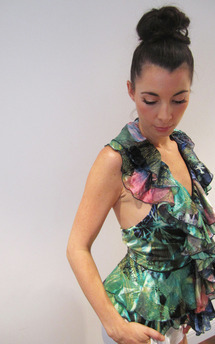 Burnout silk ruffle lysander top by Fifi Product photo