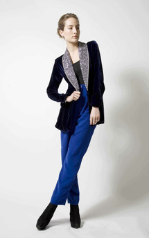 Silver sequin smoking jacket by Lilah Product photo