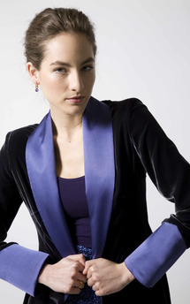 Gunmetal silk cuffed smoking jacket by Lilah Product photo