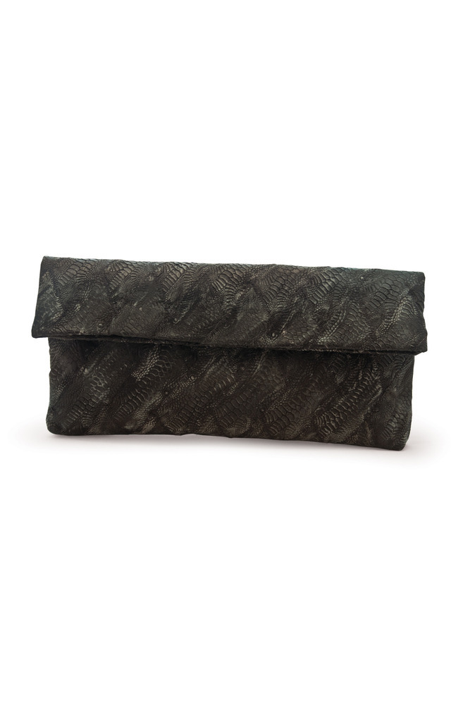 Mottled Poulard Leather Derma Clutch by Heidi Mottram