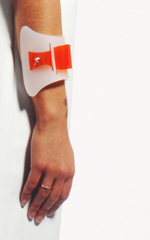 White frost arm cuff by Laura Jessica. Product photo