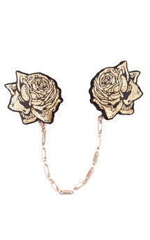 Rose collar brooches, gold by Rosita Bonita Product photo