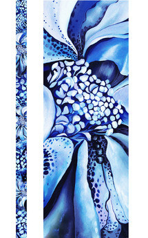 Blue hybrid rose print silk ribbon by Leanne Claxton Product photo