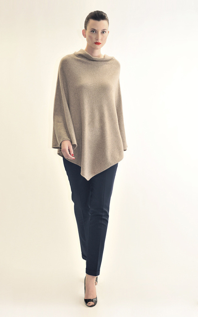 Sleeveless Poncho-Biscuit by Semon Cashmere