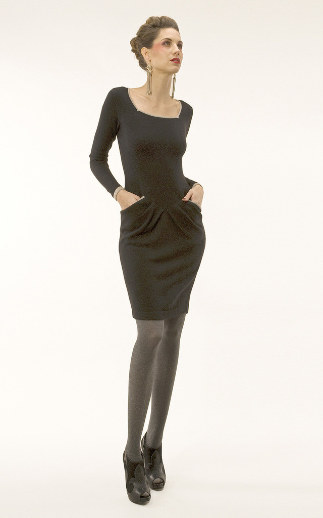 Square Neck Pocketed Dress by Semon Cashmere