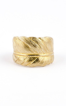 Brass feather ring by Frillybylily Product photo