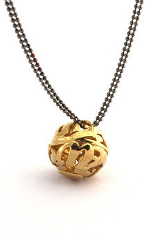 Lost words yellow gold vermeil pendant medium by Nicola Crawford Jewellery Product photo