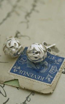 Lost words silver studs by Nicola Crawford Jewellery Product photo