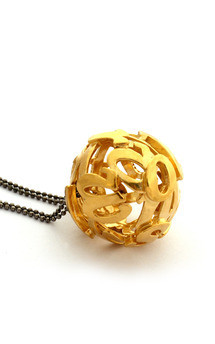 Lost words yellow gold vermeil pendant large by Nicola Crawford Jewellery Product photo