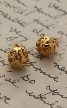 Lost words yellow vermeil studs by Nicola Crawford Jewellery Product photo