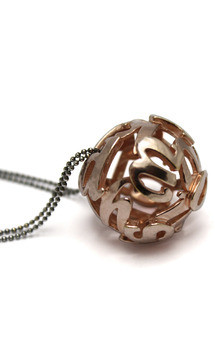 Lost words rose gold vermeil pendant large by Nicola Crawford Jewellery Product photo
