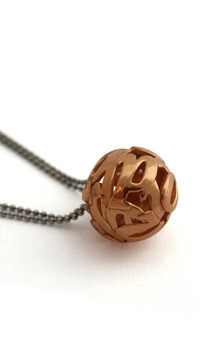 Lost words rose gold vermeil pendant medium by Nicola Crawford Jewellery Product photo