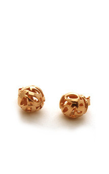 Lost words rose gold vermeil studs by Nicola Crawford Jewellery Product photo