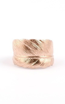 Rose gold plated feather ring by Frillybylily Product photo
