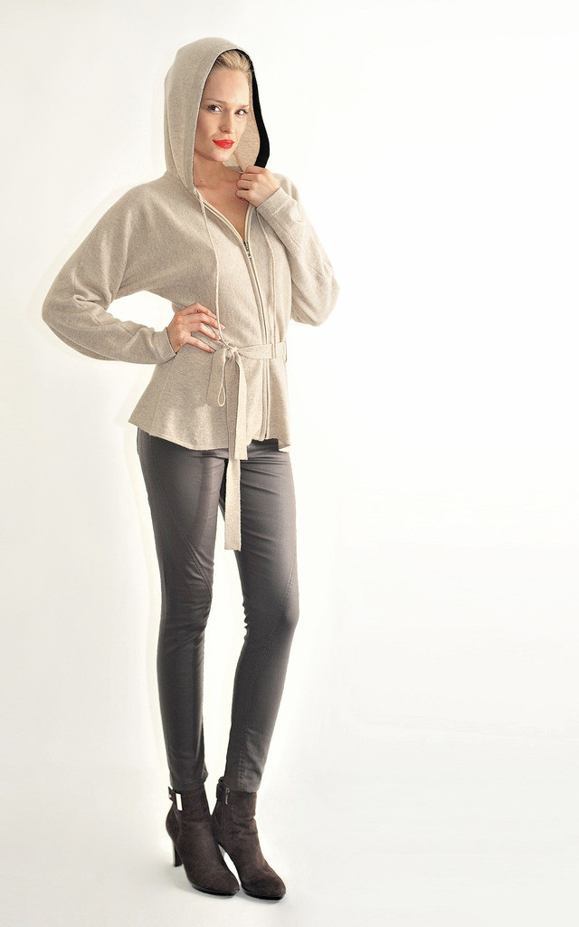 Hooded Jumper With Belts - Oat Colour by Semon Cashmere