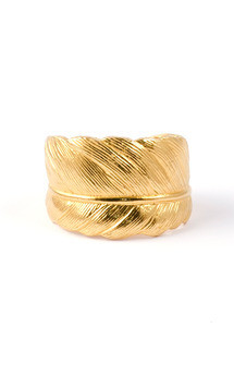 Gold plated feather ring by Frillybylily Product photo