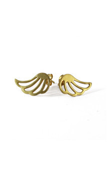 Lophorina gold wing studs by Cara Tonkin Jewellery Product photo