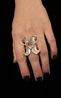 Volute silver double curl ring by Cara Tonkin Jewellery Product photo